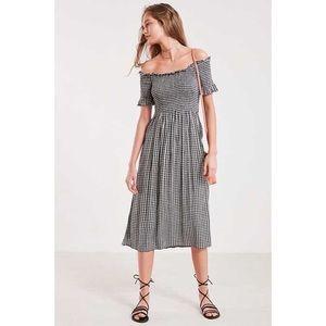Kimchi Blue Gingham Off the Shoulder Midi Dress